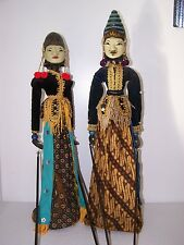 PAIR WAYANG GOLEK Wooden Stick Puppet Indonesia DANCING DOLL On Stand