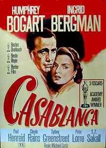 CASABLANCA Humphrey Bogart Ingrid Bergman Filmplakat A1 GEROLLT WA ca. 1970