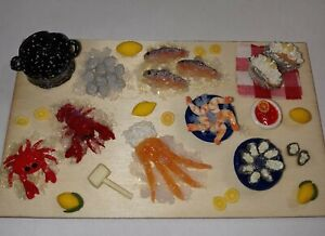Dollhouse Seafood Board Crab Lobster Shrimp Oysters Doll Dinner