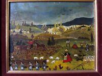 ANNE BAUDOUIN - HUILE SUR PANNEAU - ART NAIF - 27 x 22 cm