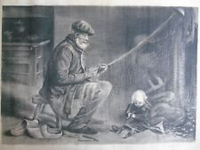 M.GIRAUD SUPERBE GRAND  FUSAIN 1928 VIEUX PECHEUR ET SON PETIT ENFANT SIGNE