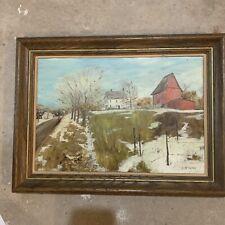 Vintage Original Acrylic Old Farmhouse Painting Door County Artist R. McCurdy