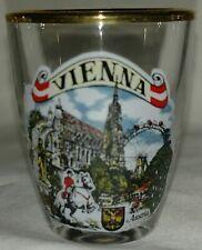"Vienna Austria 2"" gold trim rim European shot glass"