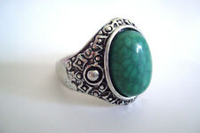 Aged Silver Tone Ornate Green Cracked 'Stone' Statement Ring Size U