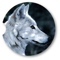 Oil Painted Style White Wolf Portrait Sandstone Car Coasters - Matching Pair