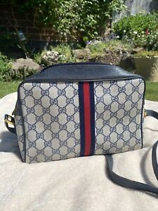 Authentic 1980's Gucci Vintage Ophidia Crossbody Accessory Collection Bag Navy