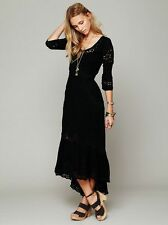 141563 NWD Free People Mexican Wedding Embroidered Lace Cutout Black Dress XS 2