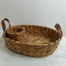 Woven Basket with Faux Leather Handles