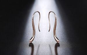 Simple Rose Gold one crystal CZ Hook Earrings Women Girls Minimalist