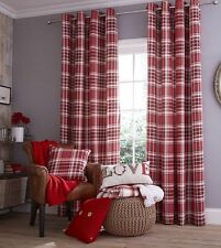 Catherine Lansfield Red Twill Tartan Fully Lined Eyelet Curtains ANY SIZE £19.99