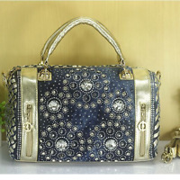 New Denim Jean Crystal Rhinestone Beads Bling Handbag Women's Shoulder Bag Gold