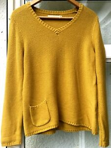 STUNNING SEASALT SPIN A YARN YELLOW COTTON JUMPER SWEATER PULLOVER Size 10