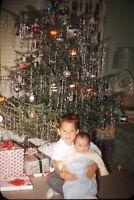 Brothers Christmas Tree Baby Tinsel 1958 50s Vintage 35mm Kodachrome Slide
