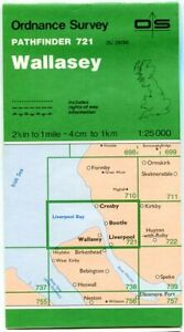 UK ORDNANCE SURVEY Pathfinder (1:25000) Map 721 - Wallasey, Bootle, Liverpool N.