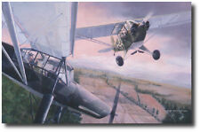 Duel in the Sun by Burt Mader- Piper L-4 & Fiesler Fi 156 Storch- Aviation Art