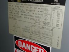 PERFECT SQUARE D 45 KVA TRANSFORMER, 480 - 208Y/120V, 3PH, N-1 CAT# 45T3HBCU