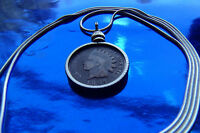 """Classic Indian Head Penny Bezel Pendant on a 30"""" 925 Silver Snake Chain"""