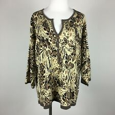 e2df3a91230 Cathy Daniels Womens Pullover Sweater 3X Abstrract Animal Print 3 4 Sl  Button De
