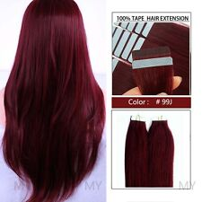 """AAA Tape In 40Pcs 100g 16""""-24"""" Skin Weft Remy Human Hair Extensions US Ship BS57"""