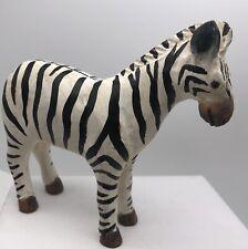 9� Painted Wood Zebra Zoo Or Wildlife Animal Figure