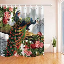 Peacock and Peony Flowers Waterproof Fabric Bathroom Shower Curtain 71Inch Long