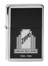 Zippo en TU MECHERO ZIPPO 1933 - 1936 brushed Chrome nuevo embalaje original coleccionista!!!