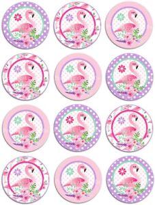 12 x 5cm Edible Flamingo *PRECUT* Icing Cupcake Toppers