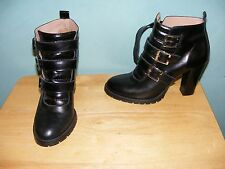 CHANIOTAKIS BLACK LEATHER TRIPLE BUCKLE ANKLE BOOTS SIZE 8 Made in Greece