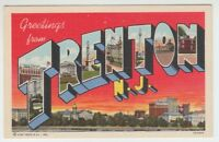 [67062] OLD LARGE LETTER POSTCARD GREETINGS from TRENTON, NEW JERSEY