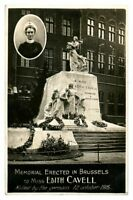 Antique WW1 military RPPC postcard Memorial Erected In Brussels Edith Cavell