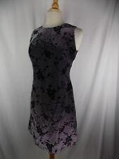 Donna Ricco Sz 6 Black Silver Shiny Floral Rose Lined Dress NWOT