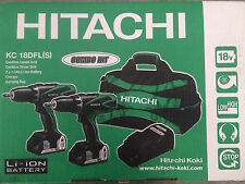 HITACHI KC 18 DFLS 18V Li-ion Twin Pack Combi Trapano & Trapano 2 x 1,5AH BATT