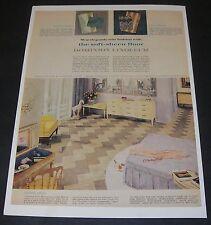 Print Ad 1960 FLOORING Dominion Linoleum Decorated Italian Bedroom Home Decor