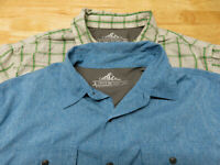 2 Mens Croft & Barrow Quick Dry Shirts Size L Travel Hiking Short Sleeve Vented