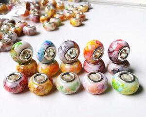 50pcs new mix big hole bead fit DIY Bracelet charm beads hot @48