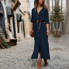 Women Long Sleeve Loose Side Split Maxi Ladies V-neck Button OL Work Shirt Dress