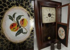antique ANSONIA BRASS AND COPPER CO. OG Ogee Shelf Mantel Clock walnut PEACHES