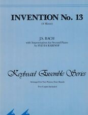 INVENTION No. 13 (A Minor) BACH Sheet Music Two Pianos Four Hands