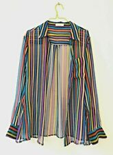 EQUIPMENT FEMME STRIPE SHIRT BLOUSE FRENCH DESIGNER MULTICOLOUR BLACK SMALL