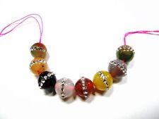 Multi agate with rhinestones round beads 10mm