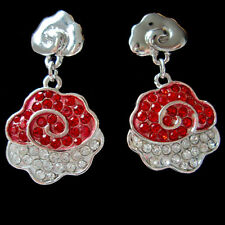 Red Crystal Rhinestones Cute Carved Cloudy Pendant Earrings