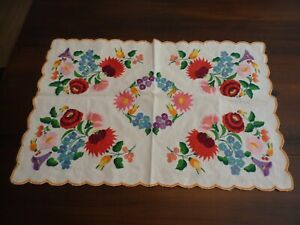 Vintage Hungarian Hand Embroidered KALOSCA Style Rectangular Tablecloth