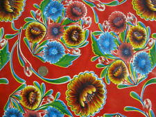 RED BLOOM MEXICAN FIESTA FOLK FLORAL OILCLOTH VINYL SEW CRAFT DECOR FABRIC BTY