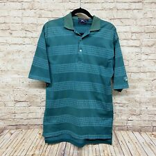 VTG Burberry Polo Shirt Size M Argyle Print Short Sleeve Logo Golf Cotton Green