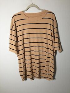 zanerobe Mens Camel Striped T Shirt Size XL Short Sleeve Cotton Good Condition