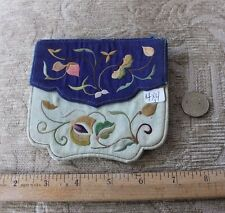 """Antique Chinese Silk Hand Embroidered Card Case (?), Purse c1890-1900~4""""Square"""