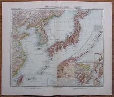 Japan Korea Ost-China alte Landkarte aus 1906 Stielers Handatlas old map