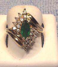 LADIES EMERALD + DIAMOND RING ,SET IN 14KT YELLOW GOLD  RETAIL   $1495.00