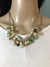 Joan Rivers Fancy Cluster Necklace With Green, Blue, Gold, Pearl, Purple