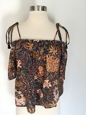 Madewell Silk Cold Shoulder Top Blouse in Sea Floral Size S Small